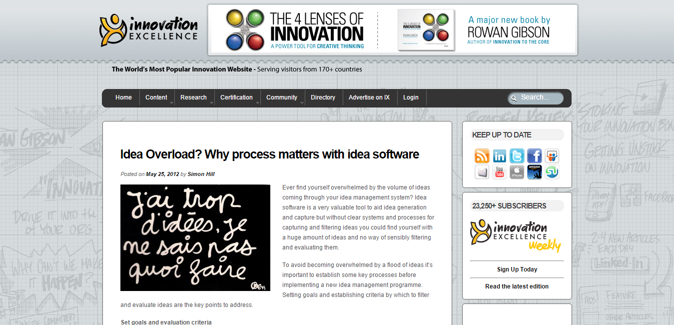 Innovation Excellence   Idea Overload  Why process matters with idea software