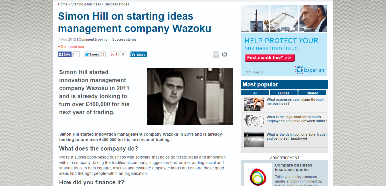 Simon Hill on starting ideas management company Wazoku