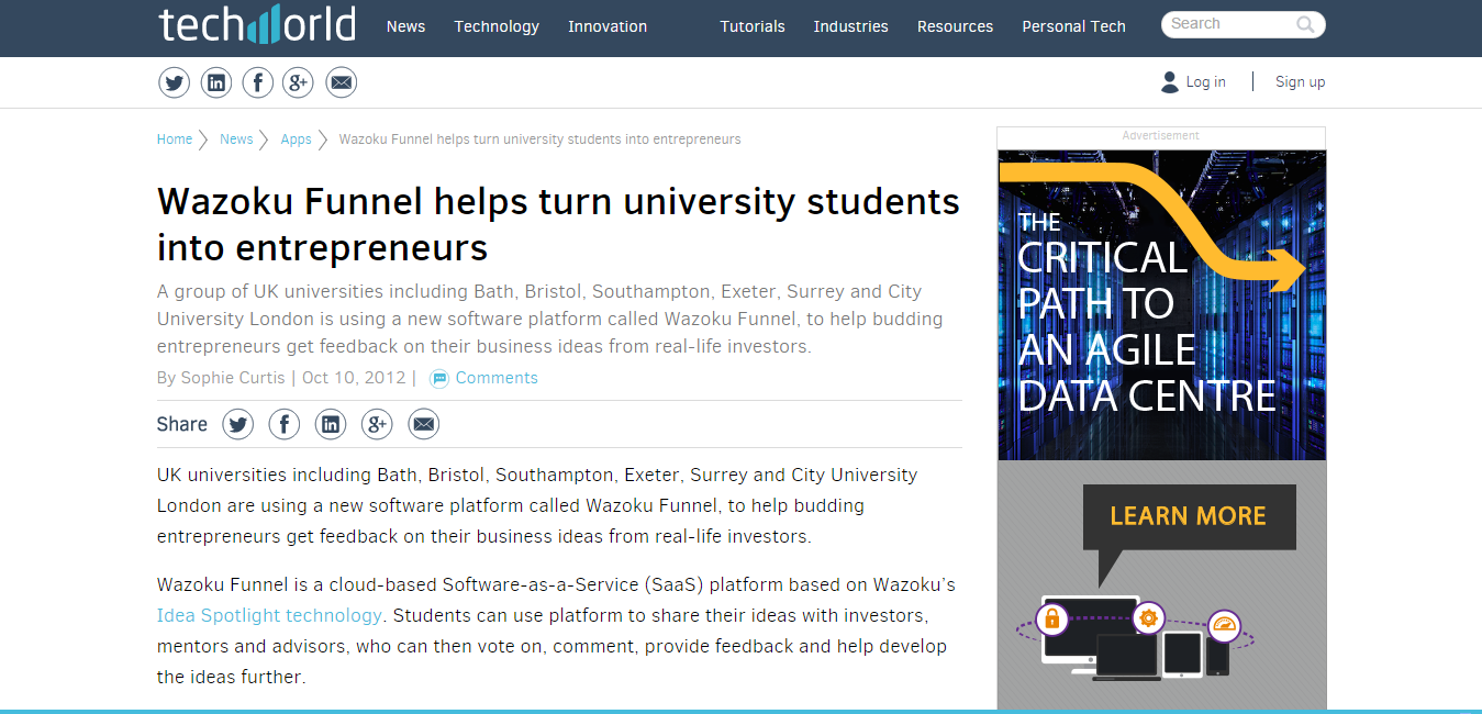 Wazoku Funnel helps turn university students into entrepreneurs   Apps   Techworld