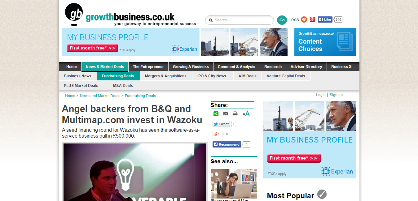 Angel backers from B Q and Multimap.com invest in Wazoku