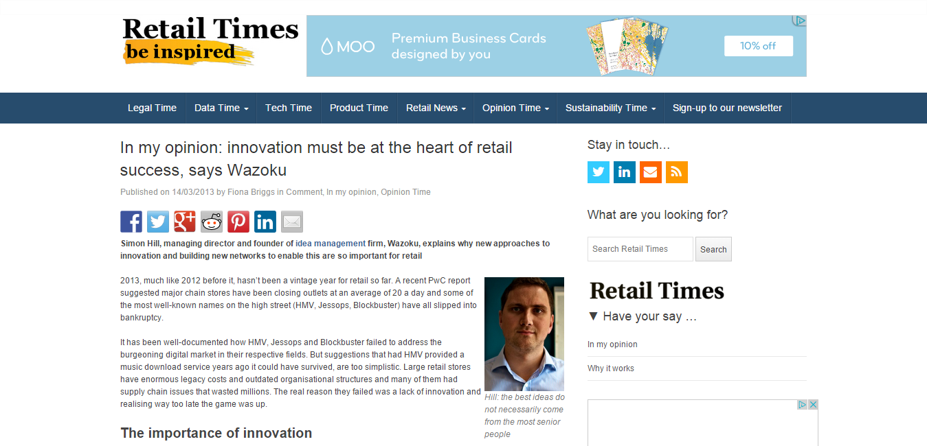 In my opinion  innovation must be at the heart of retail success  says Wazoku   Retail Times