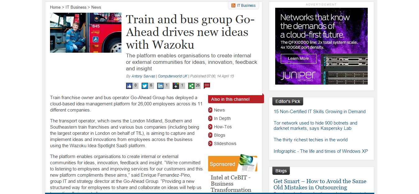 Computer World UK - Train and bus group Go-Ahead drives new ideas ...
